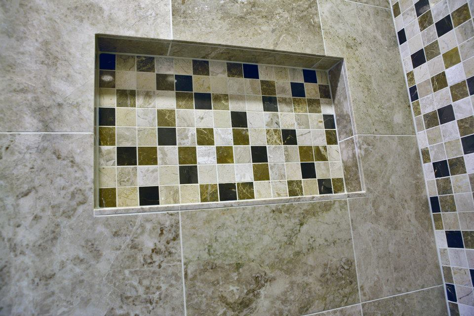 Recessed niche-large format marble tile-marble mosaic-wetroom-Sale-Cheshire